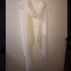 Long thin white scarf